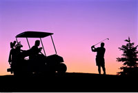 Silhouette of Golfers at Dusk