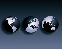 Three Globes North and South America