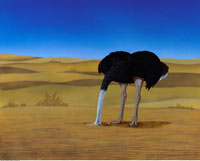 Illustration of Ostrich with Head In Sand