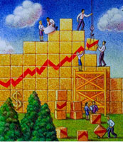Illustration of Business People Building Line Graph