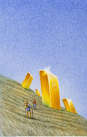 Illustration of People Finding Gold Bars in Field 20025007827| 写真素材・ストックフォト・画像・イラスト素材|アマナイメージズ