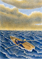Illustration of Businessmen in Rowboat on Rough Waters