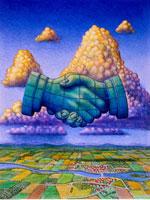 Illustration of Abstract Handshake in Sky over Landscape 20025008404| 写真素材・ストックフォト・画像・イラスト素材|アマナイメージズ