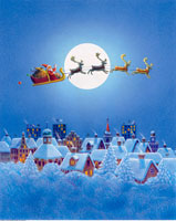 Illustration of Santa Claus And Reindeer Flying over Houses