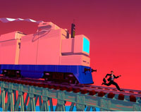 Illustration of Computer Train Chasing Businessman