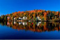 Cottages on Saranac Lake in Autumn