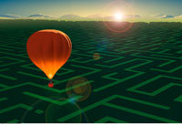 Illustration of Hot Air Balloon Flying Over Maze at Sunset