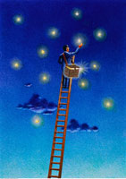 Illustration of Businessman on Ladder Collecting Stars in Ba