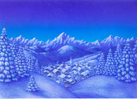 Illustration of Village in Winter