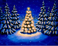 Illustration of Christmas Tree at Night