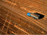 Aerial View of Truck Filled with Potatoes