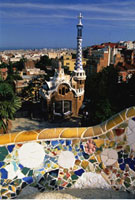 Fence and Buildings at Guell Park Barcelona