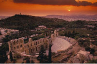 Odeon of Herod Atticus and Cityscape at Sunset Athens