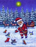 Illustration of Santa Claus Feeding Birds in Winter