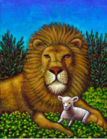 Illustration of Lion and Lamb Sitting Together in Field