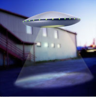 UFO Flying near Building