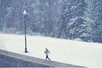 Woman Jogging in Snow