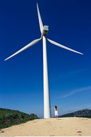 Girl by Wind Generator Andalucia