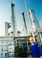 Man In Front of Oil Refinery