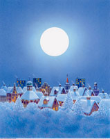 Illustration of Full Moon over Snow-Covered Town