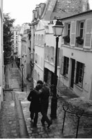 Couple Walking in Alleyway Paris France