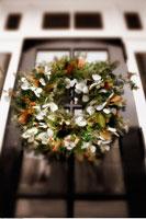 Christmas Wreath Hanging on Door