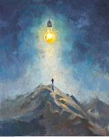 Figure Standing On Top of a Mountain with Lightbulb Over Hea