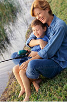 Mother and Son Fishing