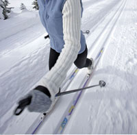 Woman Cross Country Skiing in the Canadian Rockies