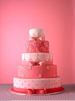 Wedding Cake with Pink Fondant Icing