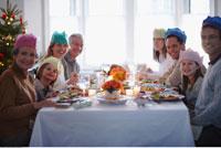 Portrait of Family at Christmas Dinner