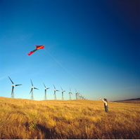 Child Flying Kite by Wind Turbines