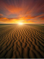 Sunset in Desert Over Sand Dunes
