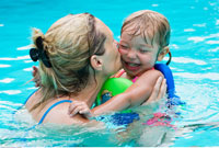 Mother and Daughter Playing In Swimming Pool