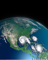 Three Hurricanes Over Atlantic Ocean