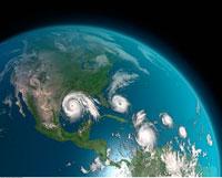 Five Hurricanes Over Atlantic Ocean