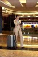Woman in Hotel Foyer