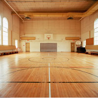 Basketball Court in Gymnasium