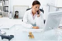 Veterinarian Using Phone