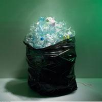 Garbage Bag Full of Crushed Plastic Bottles