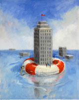 Building Floating On Life Preserver
