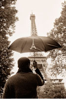Man Looking at Eiffel Tower