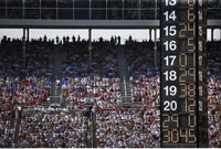 Nascar Scoreboard and Crowd at Texas Motor Speedway