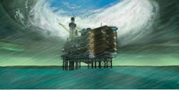 Hurricane Over Oil Drilling Platform