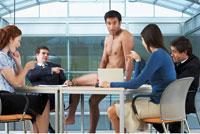 Naked Businessman at Meeting
