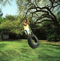 Woman on Tire Swing
