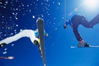 Looking Up at Skiiers