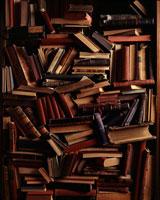 Books Piled on Shelves