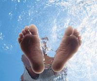 Person's Feet Underwater
