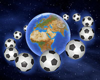 Soccer Balls Surrounding the Earth